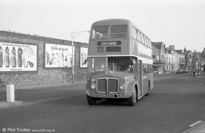 AEC Regent V/Willowbrook H37/27F 839 (GWN 867E) at Swansea Guildhall on 28th July 1973.