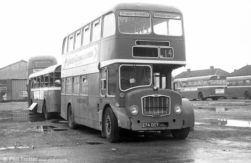 Seen at Port Talbot awaiting disposal is 969 (274 DCY), a 1962 Bristol FSF6G / ECW H34/26F. This was originally United Welsh 376.