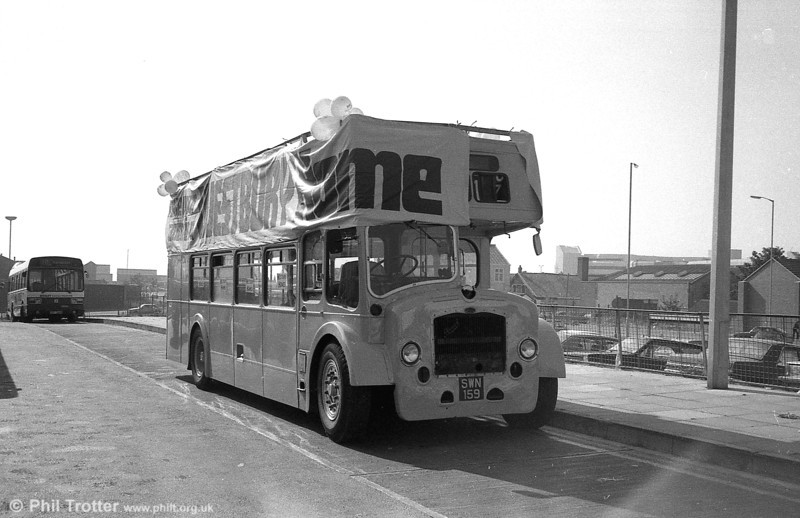 Bristol LD tree lopper 61 (SWN 159) received a rare moment of glory on September 5 1981 when, decorated with balloons and banners, it was used to promote Westbury Homes.