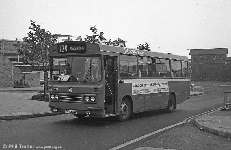 1981 Bedford YMQ/Duple B43F 294 (FCY 294W) at Swansea.