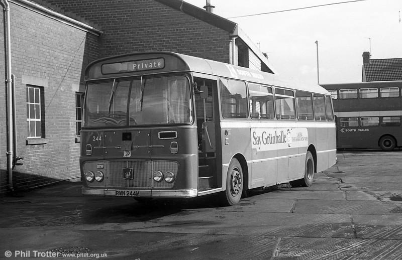 Ford R1014/Willowbrook B45F 244 (PWN 244M) at Llanelli.