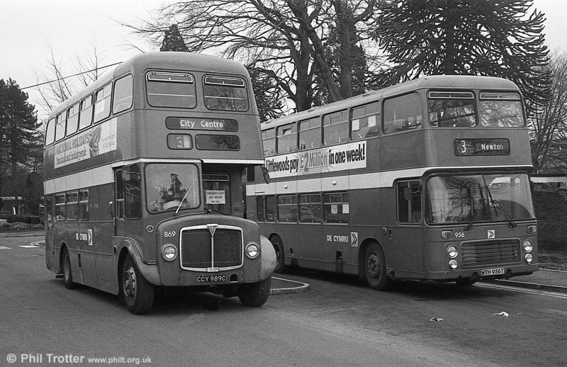 AEC Regent V/Willowbrook H37/27F 869 (CCY 989C) and VRT 956 at Morriston Hospital during the final tour of February 27th 1982.