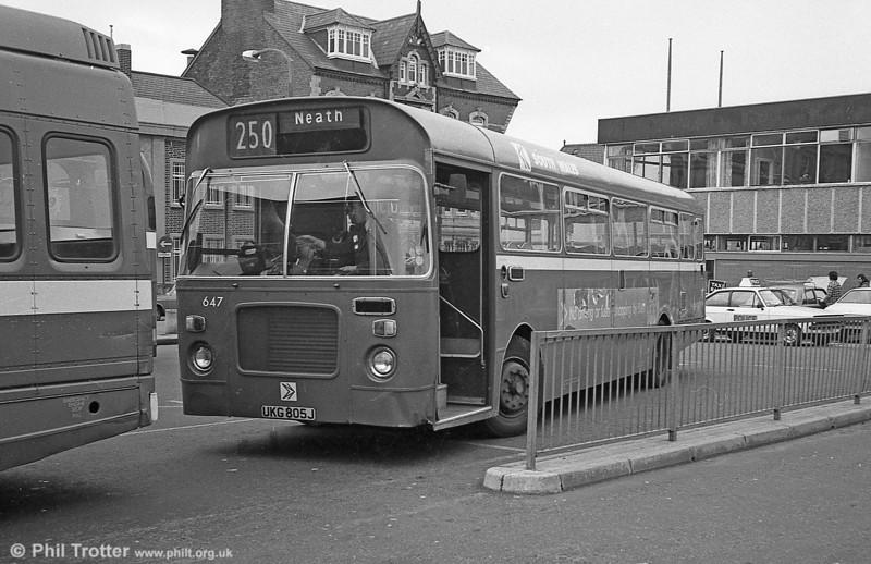 Ex-Western Welsh Bristol RELL6L/Marshall B51F 647 (UKG 805J) at Neath Station.