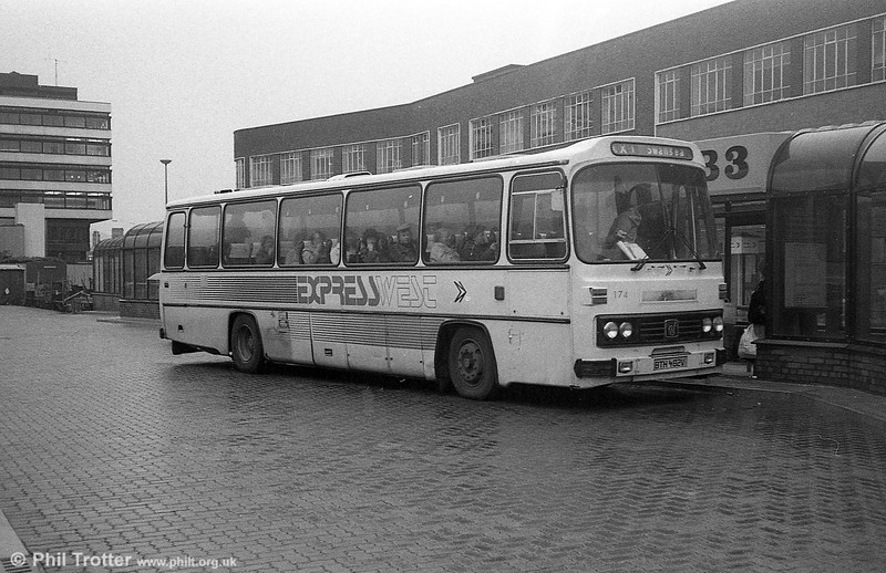 174 (BTH 482V), a Leyland Leopard/Willowbrook DP51F in Expresswest livery at Cardiff.
