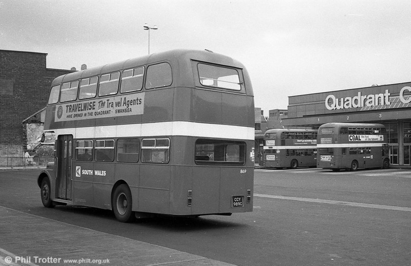AEC Regent V/Willowbrook H37/27F 869 (CCY 989C) at Swansea.