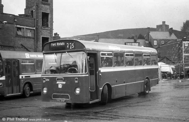 AEC Reliance/Marshall DP41F 214 (KKG 214F), ex-Western Welsh, at Maesteg.