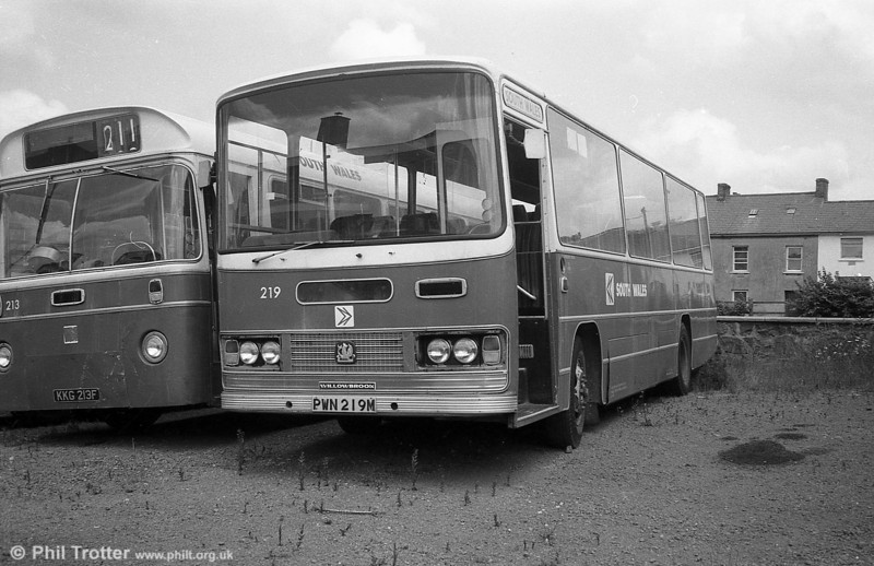 Bedford YRQ/Willowbrook DP45F 219 (PWN 219M) in store at Haverfordwest.