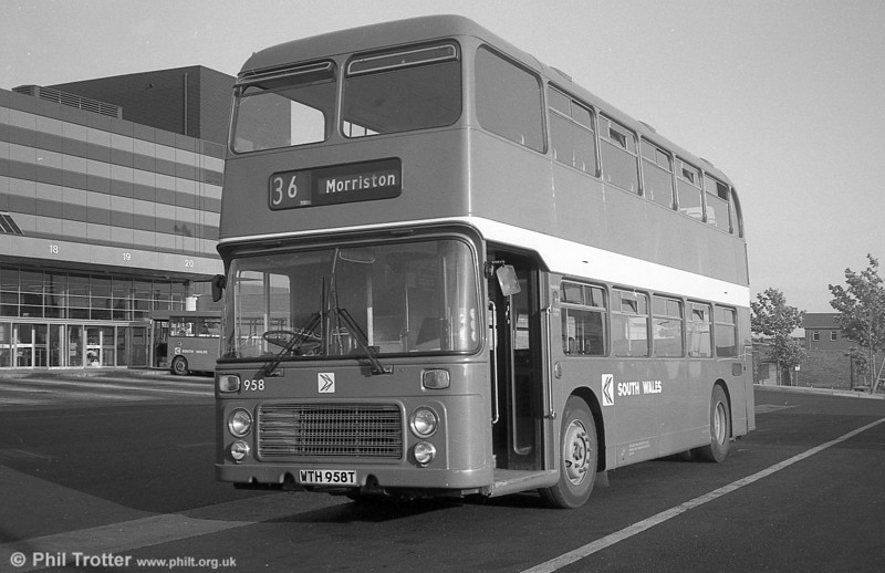 Bristol VRT SL3/ECW H43/31F 958 (WTH 958T) at Swansea.