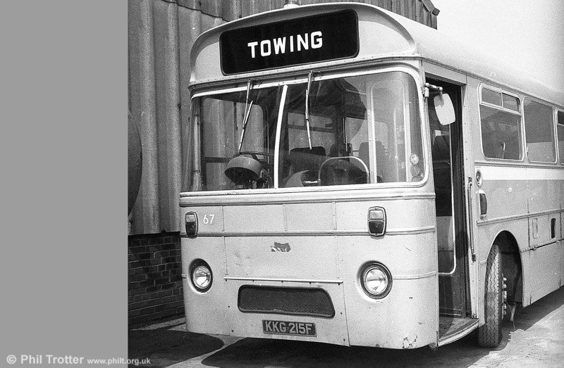 AEC Reliance/Marshall DP41F 67 (KKG 214F) towing bus, ex-Western Welsh, at Port Talbot.