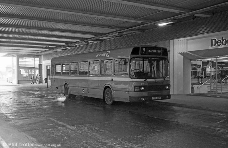 Leyland National 2/B52F 816 (CCY 816V) at Swansea.