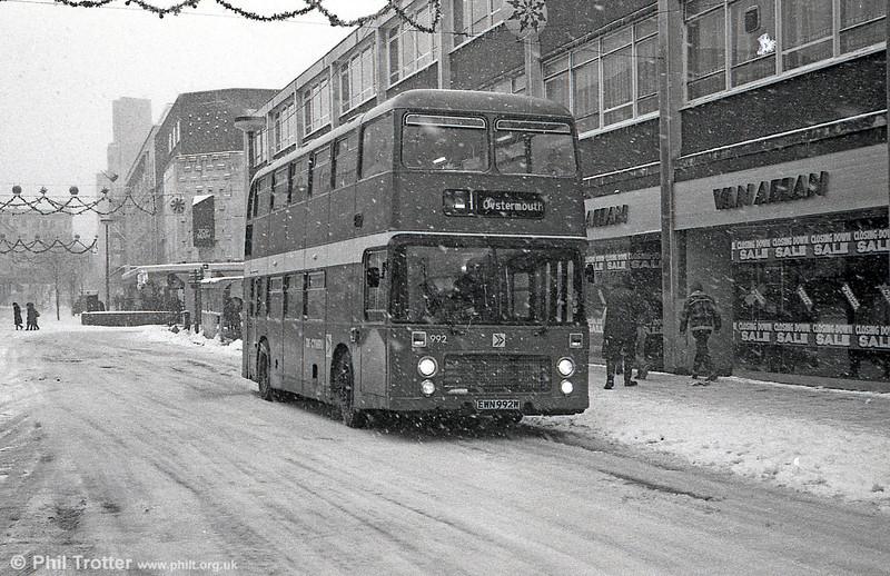 Bristol VRT 992 (EWN 992W) with ECW H43/31F in the snow at Swansea.
