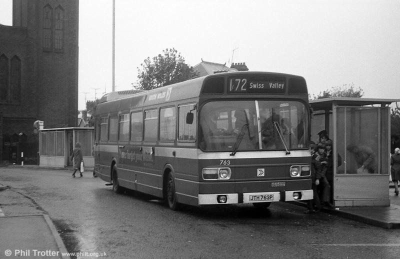 763 (JTH 763P), a Leyland National B52F at Llanelli.