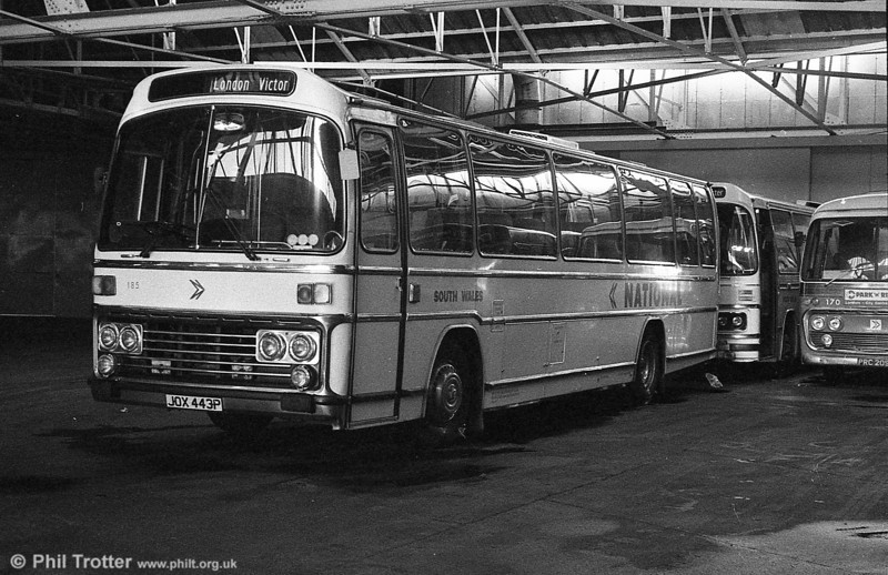 185 (JOX 443P), a Leyland Leopard/Plaxton C47F, acquired from Midland Red in 1976. Although they carried Midlands registrations, these had not entered service with Midland Red.