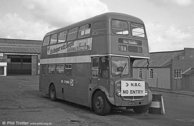 AEC Regent V/Willowbrook H37/27F 889 (GWN 867E) at Gorseinon.
