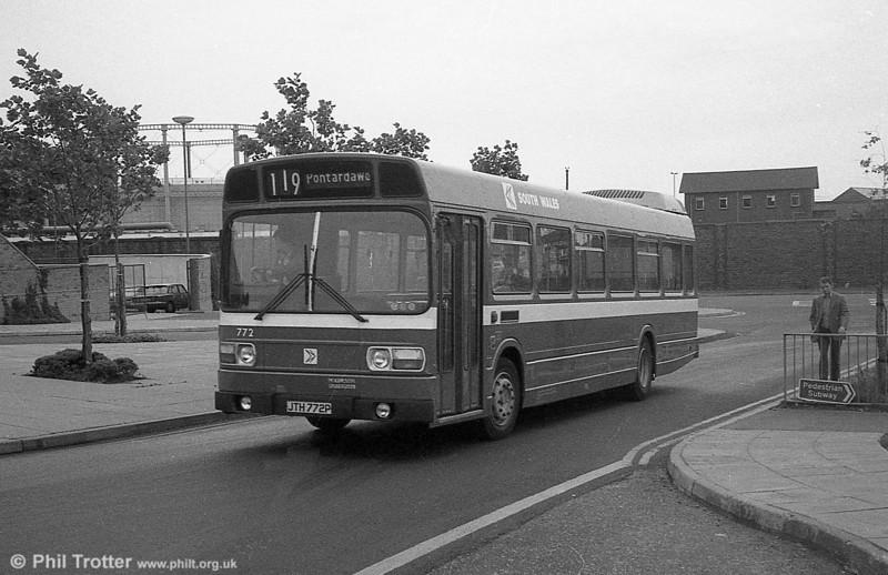 772 (JTH 772P), a Leyland National B52F at Swansea.