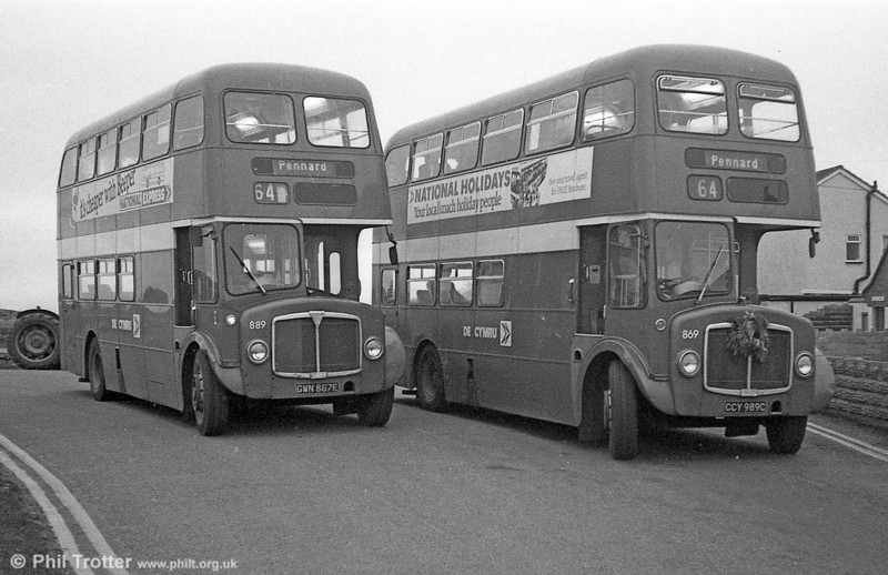 AEC Regent V/Willowbrook H37/27F 869 (CCY 989C) at Pennard during the farewell tour of December 19th 1981.