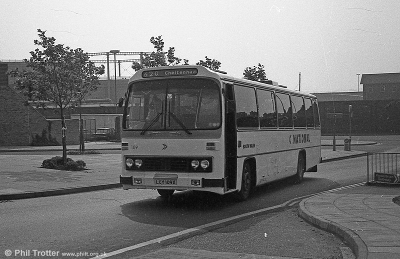 Leyland Leopard/Willowbrook C46F 109 (LCY 109X) is seen at Swansea.