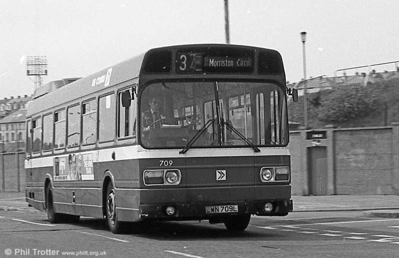 709 (LWN 709L), a Leyland National B52F seen at St. Helens.