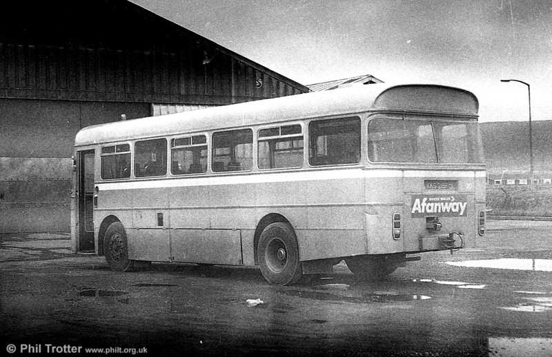 AEC Reliance/Marshall DP41F  215 (KKG 215F), ex-Western Welsh, in use as a towing vehicle at Port Talbot.