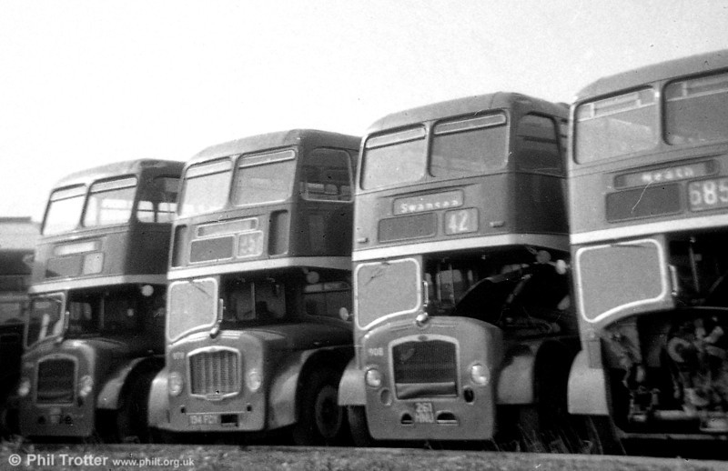 A Bristol line-up at Neath, including (centre) Bristol FS6B/ECW H33/27RD 978 (134 FCY) and former Midland General Bristol LD6G/ECW H33/25RD 908 (261 HNU).