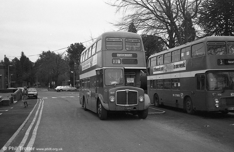 AEC Regent V/Willowbrook H37/27F 869 (CCY 989C) at Morriston Hospital during the final tour of February 27th 1982.