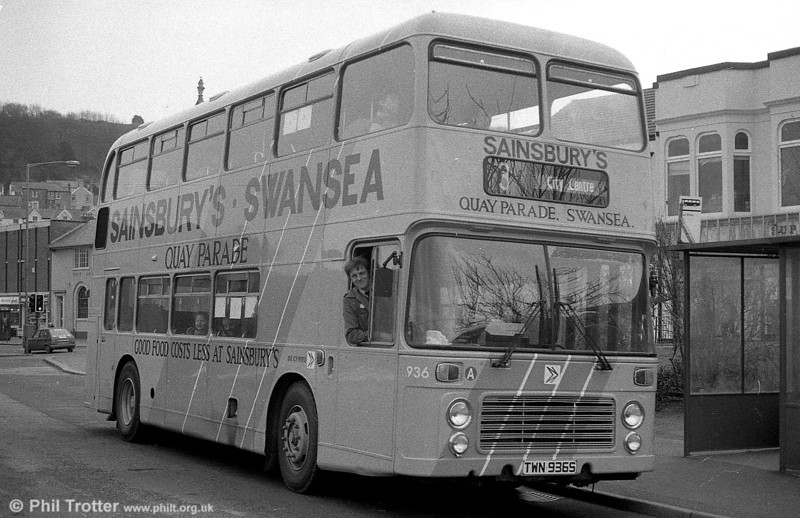 Bristol VRT SL3/ECW H43/31F 936 (TWN 936S) in Sainsbury's livery at Oystermouth. 936 later passed to Western National and was last heard of in 2005 with  Oscar Soria Resina, Pinto, Madrid, Spain.