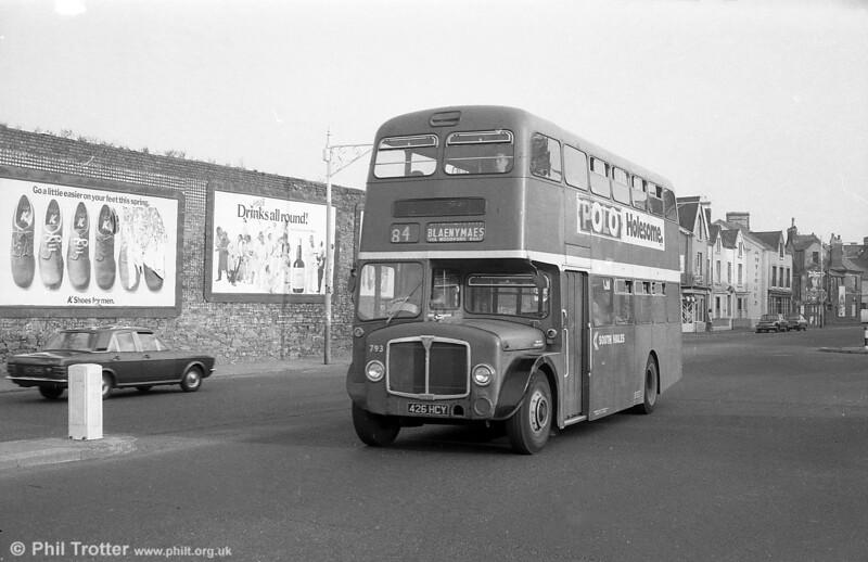 1964 AEC Regent V/Weymann H39/32F 793 (426 HCY)  near Swansea Guildhall on 28th July 1973.