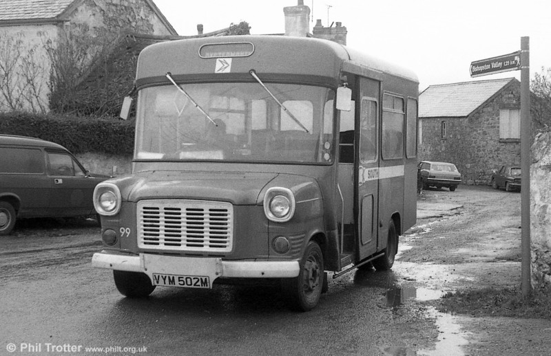 99 (VYM 502M), a 1974 Ford Transit/Strachan B16F obtained for 'Gower Pony' services in 1977.