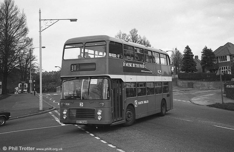 Bristol VRT/ECW H43/31F 908 (OCY 908R) at Sketty.