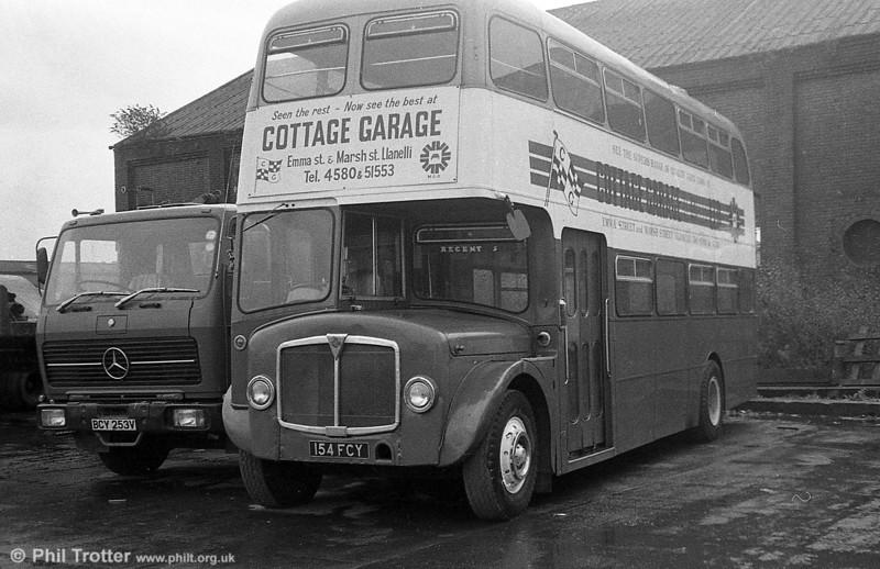 AEC Regent V/Willowbrook H39/32F 586 (154 FCY) at Cottage Garage, Llanelli.