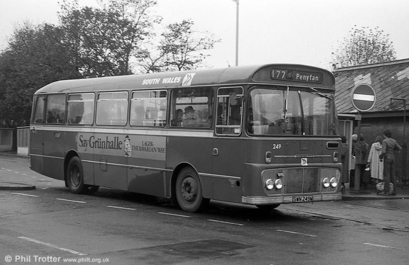 Ford R1014/Willowbrook B45F 249 (SWN 249M) at Llanelli.