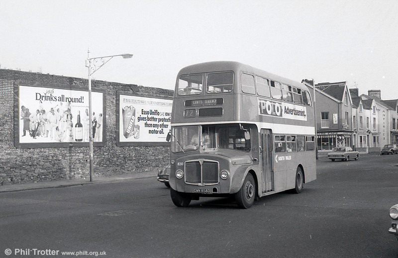 AEC Regent V/Willowbrook H37/27F 830 (GWN 858D) near Swansea Guldhall on 28th July 1973.