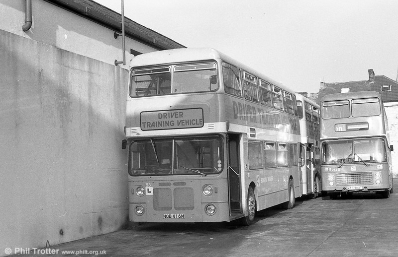 53 (NOB 416M), a Bristol VRT/MCW  H43/31F, ex-West Midlands PTE 4416 in use as a trainer at Brunswick St.