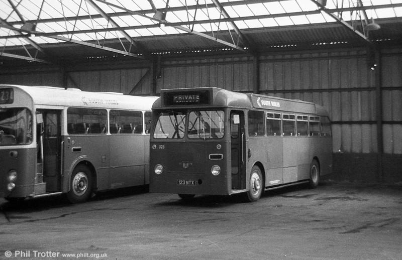 323 (123 NTX), a Leyland Tiger Cub / Alexander B45F, ex-Thomas Bros., Port Talbot.