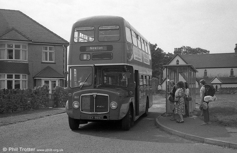 AEC Regent V/Willowbrook H37/27F 861 (CCY 981C) at Newton.