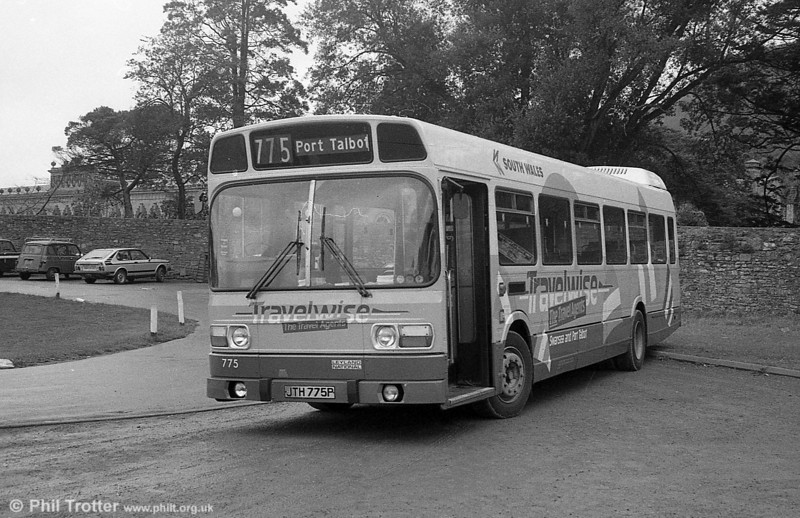 Leyland National B52F 775 (JTH 775P) in Traveline livery at Margam Park.
