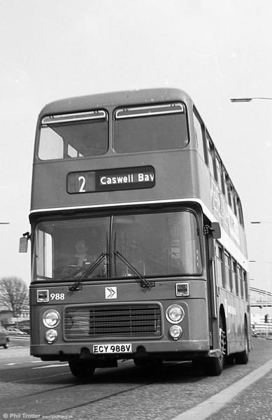 Bristol VRT 988 (ECY 988V) with ECW H43/31F at Swansea.