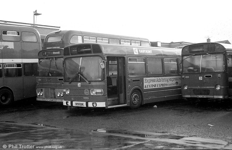 A number of secondhand Leyland Nationals were acquired in 1982 from East Kent and London Country. Here, East Kent 1063 (NFN 63M) waits to become SWT 821 at Ravenhill.