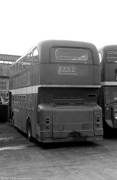 Leyland Atlantean/Northern Counties H41/32F 901 (PKG 367H) at Ravenhill.