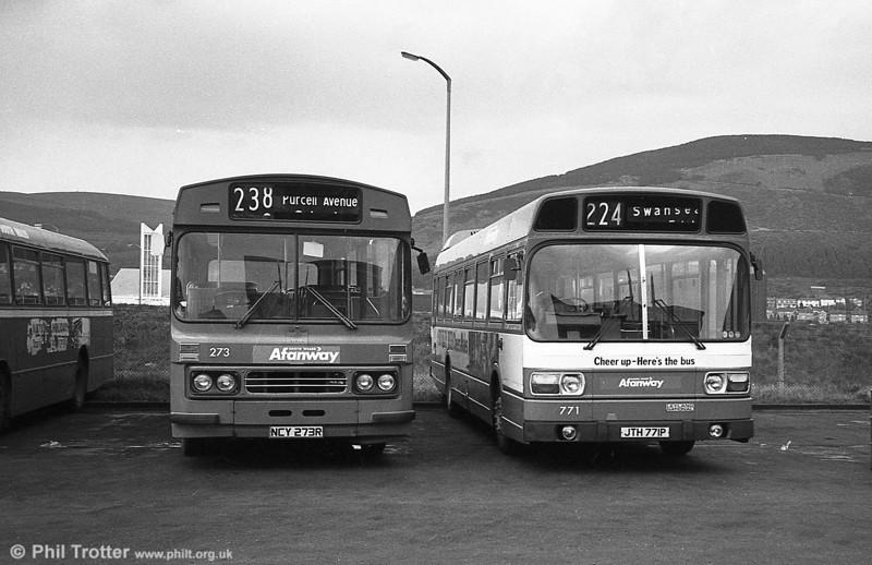Ford R1014/Duple B43F 273 (NCY 273R) at Port Talbot.