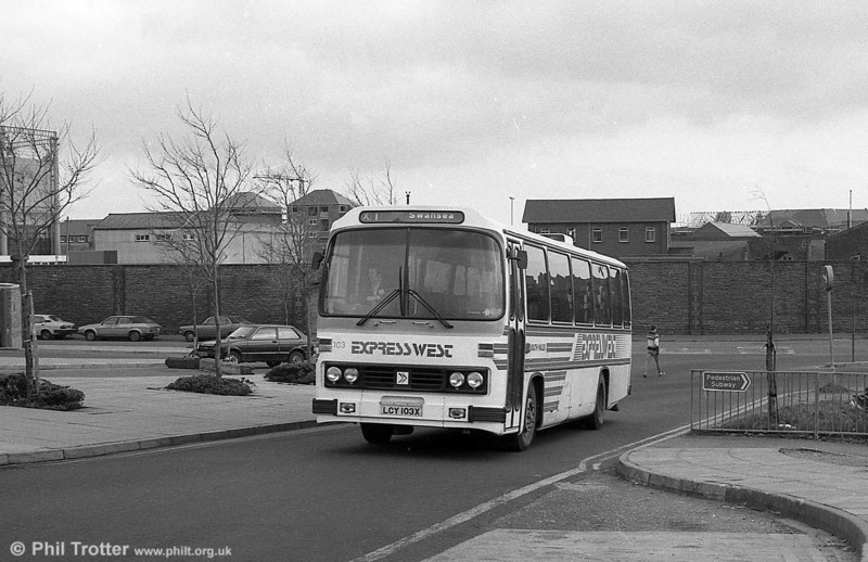 103 (LCY 103X), a 1981 Leyland Leopard/Willowbrook 003 C49F at Swansea.