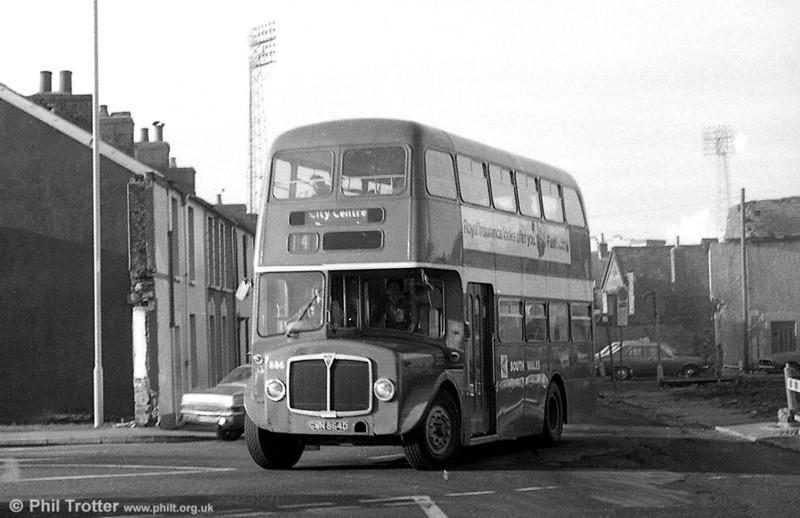 AEC Regent V/Willowbrook H37/27F 886 (GWN 864D) at Swansea.