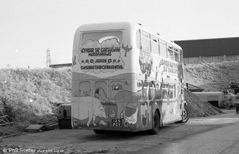 A rear view of Former SWT 970 (125 FCY), a Bristol FLF6B / ECW H38/32F converted to a play bus, parked at the WGCC yard at Ynysforgan.