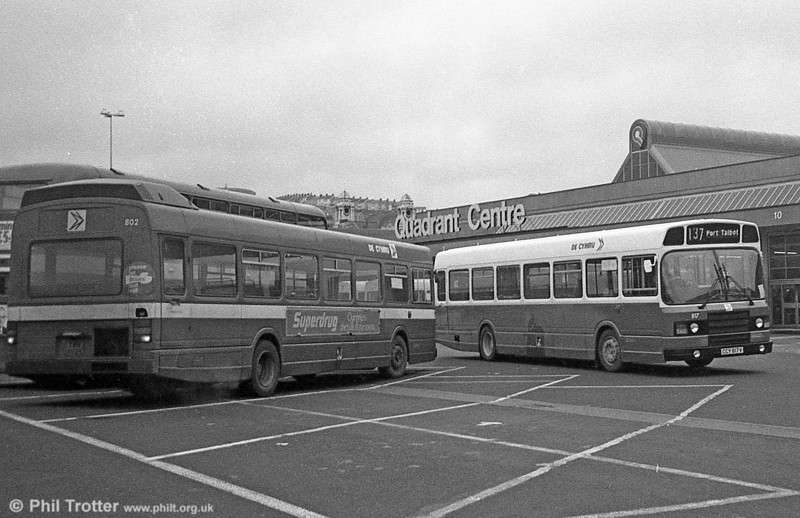 Leyland National 2/B52F 817 (CCY 817V) in DP livery at Swansea.