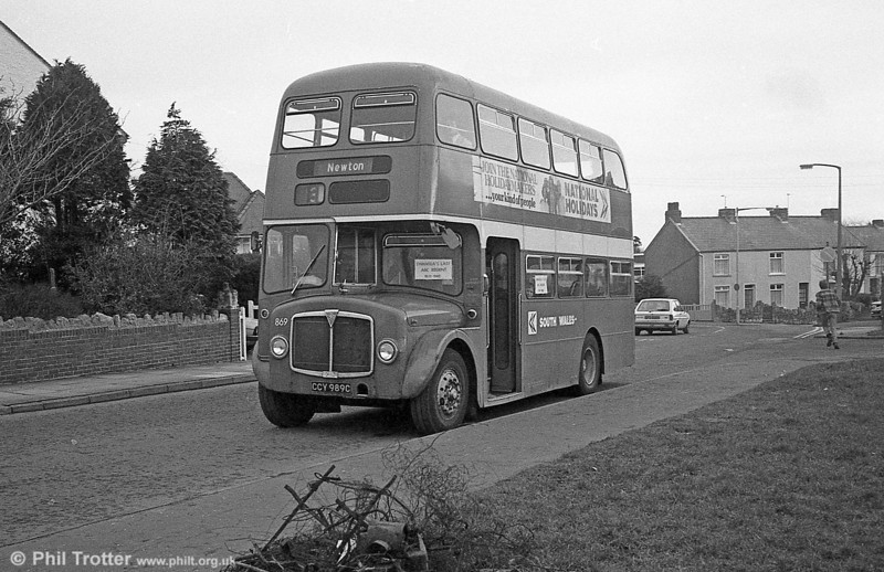 AEC Regent V/Willowbrook H37/27F 869 (CCY 989C) at Newton during the final tour of February 27th 1982.