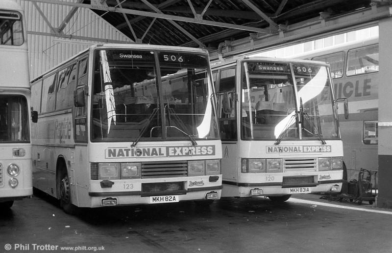 120 and 123 (MKH 831/82A),  Leyland Tiger/Duple Caribbean C46FT at Brunswick Street.