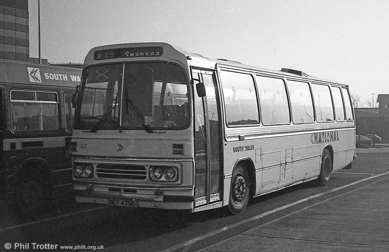Leyland Leopard/Duple DP49F 167 (NCY 475R) in coach livery at Swansea.