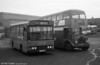 302 (LCY 302X), a Bedford YMQ/S with Lex B37F at Ravenhill before entry into service, alongside AEC Regent V 869.