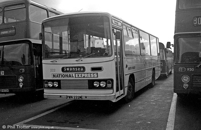 Bedford YRQ/Willowbrook DP45F 222 (PWN 222M) after reinstatement and a repaint into National Express livery, in Swansea,