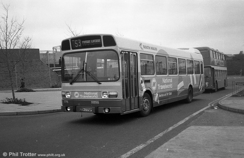 Leyland National B52F 775 (JTH 775P) with its livery updated to National Travelworld at Swansea.